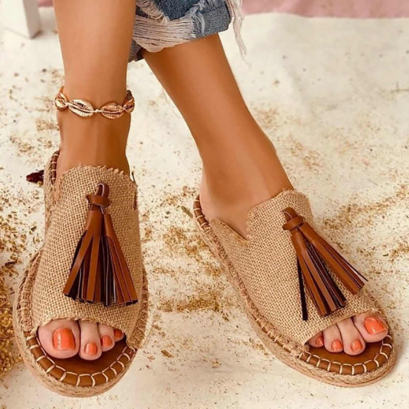 Women Flat Platform Wedges Slippers Genuine Leather Peep Toe Slip-On Shoes Casual Outside Beach Sandals