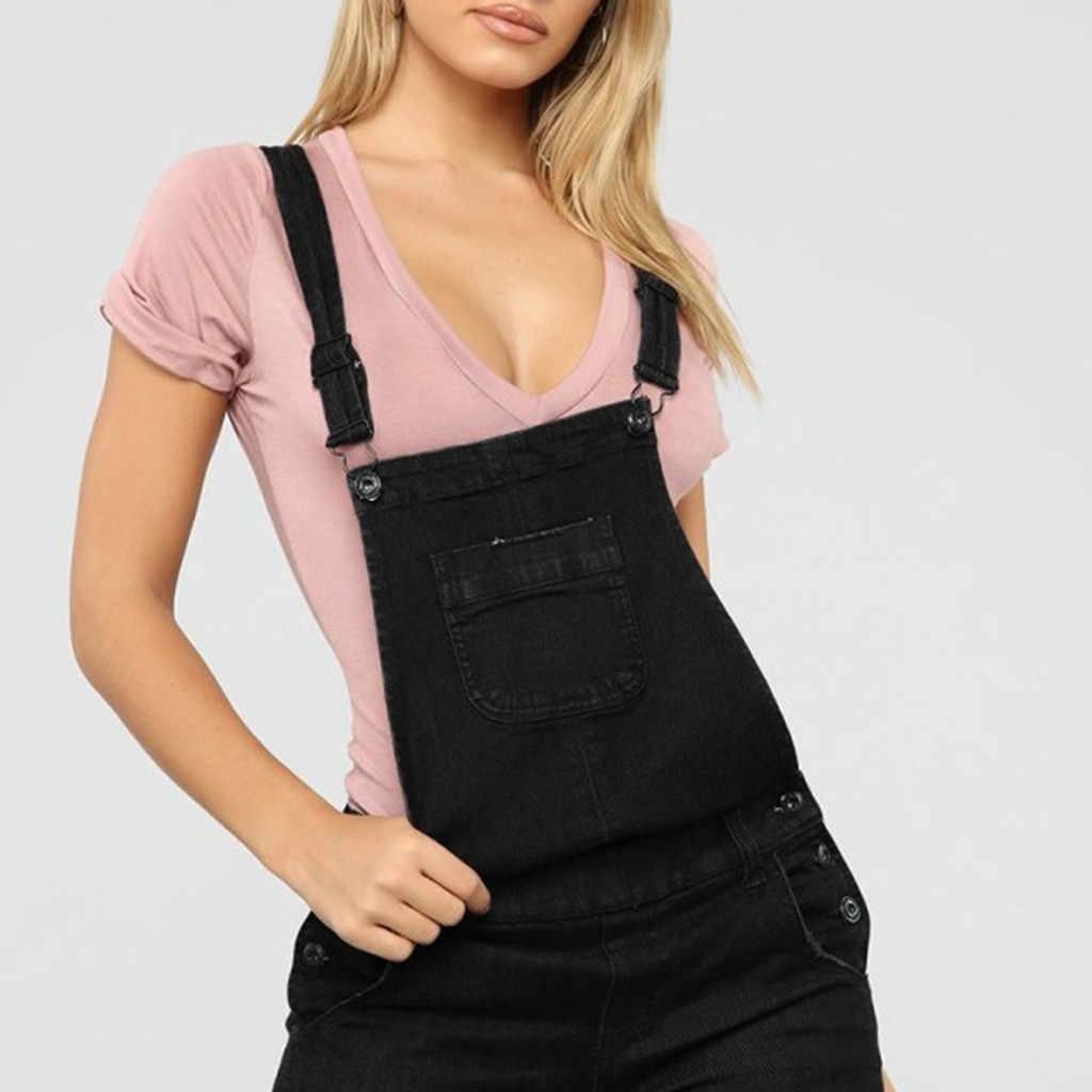 Комбинезоны джинсовые брюки женские джинсовые брюки нагрудник карман базовый черный сексуальный длинный комбинезон женский s тонкий комбинезон
