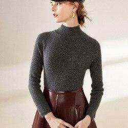Jersey de Cachemira de cuello alto para mujer jersey de manga larga de talla grande tejido gris delgado para mujer 2020 Otoño Invierno envío gratis
