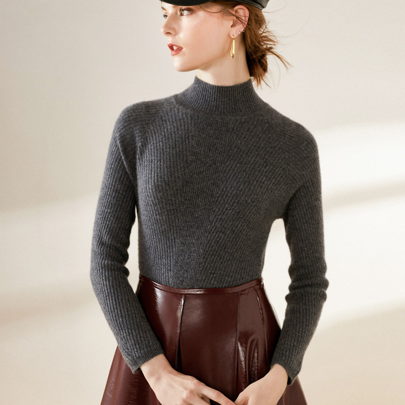 Women's Turtleneck Cashmere Sweaters Pullover Long Sleeve Plus Size Slim Female Grey Knitwear 2020 Autumn Winter Free Shipping