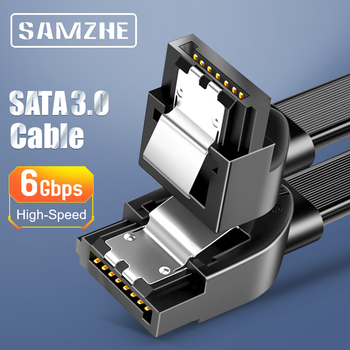 SAMZHE SATA Cable 3.0 Hard Disk Driver SSD Adapter 90 Degree Bending for Computer Connection