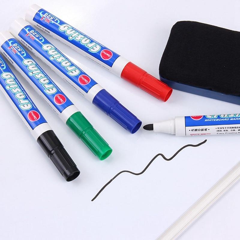 10Pcs/Set Waterproof Marker Pen Erasable Whiteboard Pen Water Pen Black Blue Red Green Art Marker Pens School Office Stationery