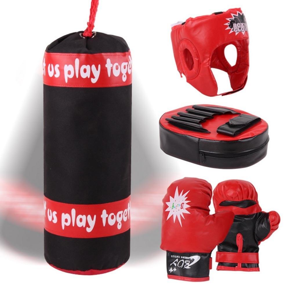 Kids Boxing Gloves Kit Punching Bag Decompression Sandbag Toy Set