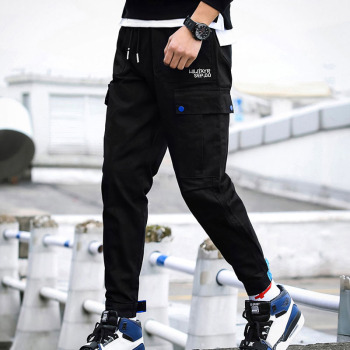 Men cargo pants 2020 new spring and autumn black pockets cotton fashion male ankle-length pants teenager boys Korean style n59 men cargo pants 2019 new arrival spring and autumn black pockets plus size male ankle length pants korean style hot sale n07