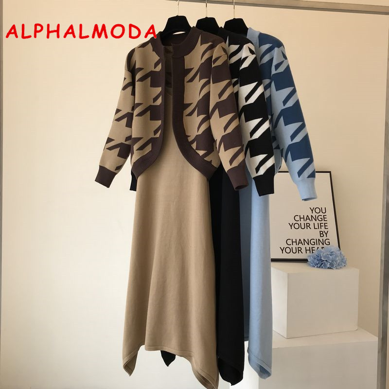 ALPHALMODA 2019 Autumn Winter Women Houndstooth Cardigans + Sling-dress 2ps Fashion Suit Elegant Knitting 2pcs Set