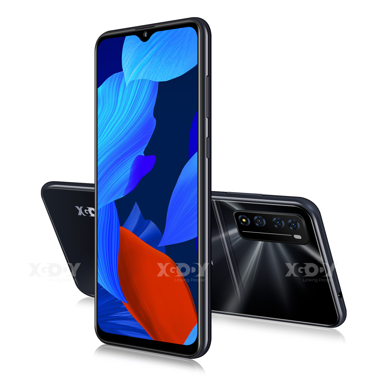 XGODY New Smartphone Android 10.0 2GB 16GB Celulars 6.6'' 19:9 HD Screen MTK6737 Quad Core 3000mAh Wifi 4G Mobile Phones 2