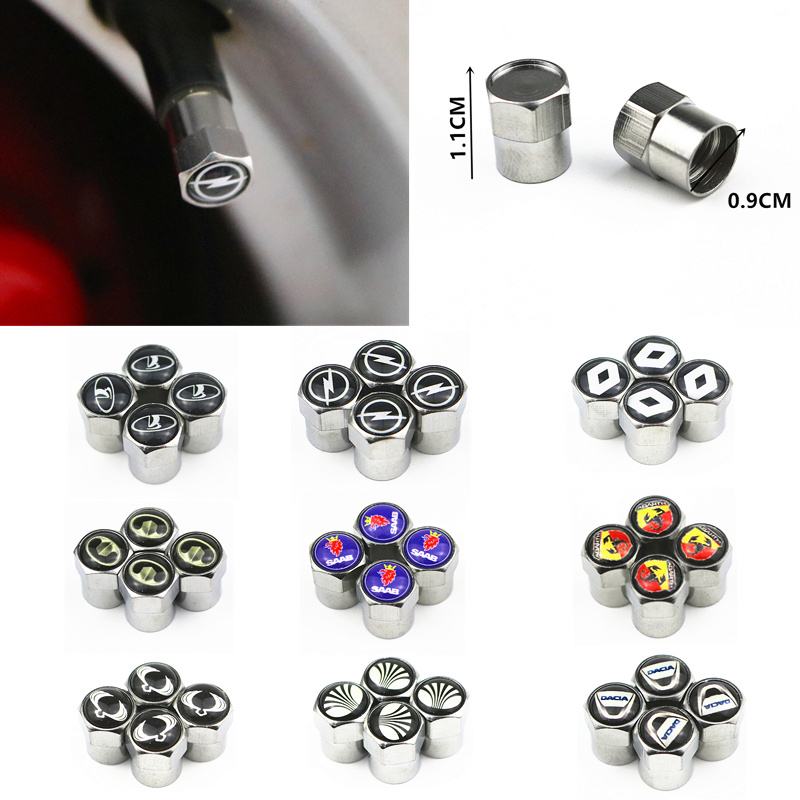4pcs New Metal Wheel Tire Valve Caps Stem Case For Opel Lada Honda Renault Hyundai Peugeot Chevrolet Audi Bmw Car Accessories