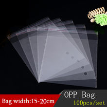 100pcs 15-20CM Width Clear Self-adhesive Cello Cellophane Bag Self Sealing Plastic Bags For Clothing Packing Resealable Bags(China)