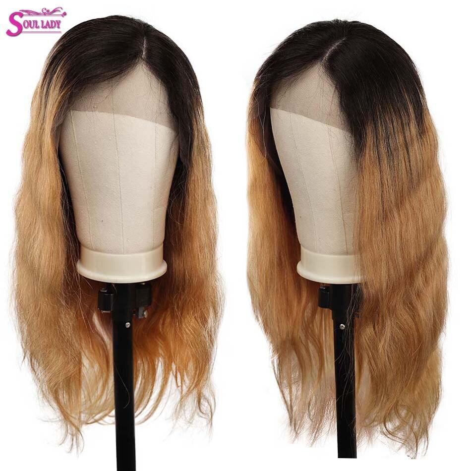 Âme dame miel blond point culminant perruque vague de corps 1b 27 perruque de cheveux humains noeuds blanchis sans colle indien Remy dentelle perruque pour les femmes noires