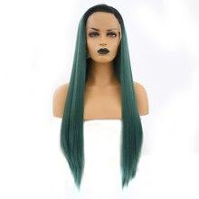 Charyzma do włosów peruki syntetyczne długi jedwabisty prosto Ombre zielony syntetyczna koronka peruka front z czarnym korzenie koronkowa peruka dla kobiet