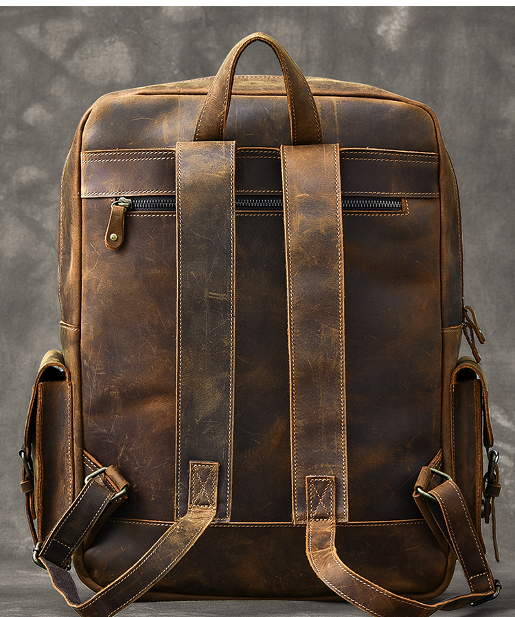 AETOO Original genuine Leather Retro Men backpack real cow Leather Large Capacity backpack men laptop backpack business bags - 5