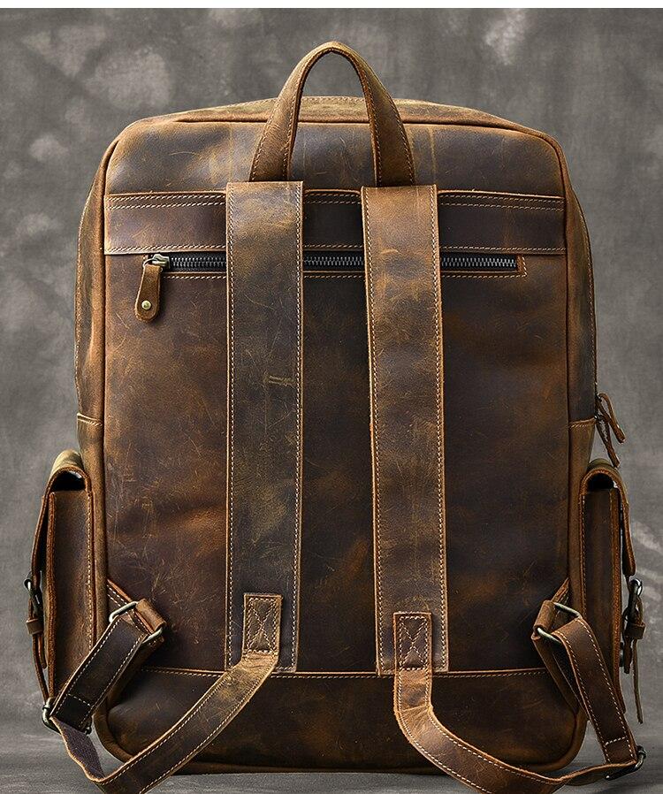 Alta Qualità Del Cuoio Genuino Grande Zaino Uomini Laptop Bag Daypack Nero/Caffè Business Casual Zaino In Pelle Da Uomo # MD J7335 - 5