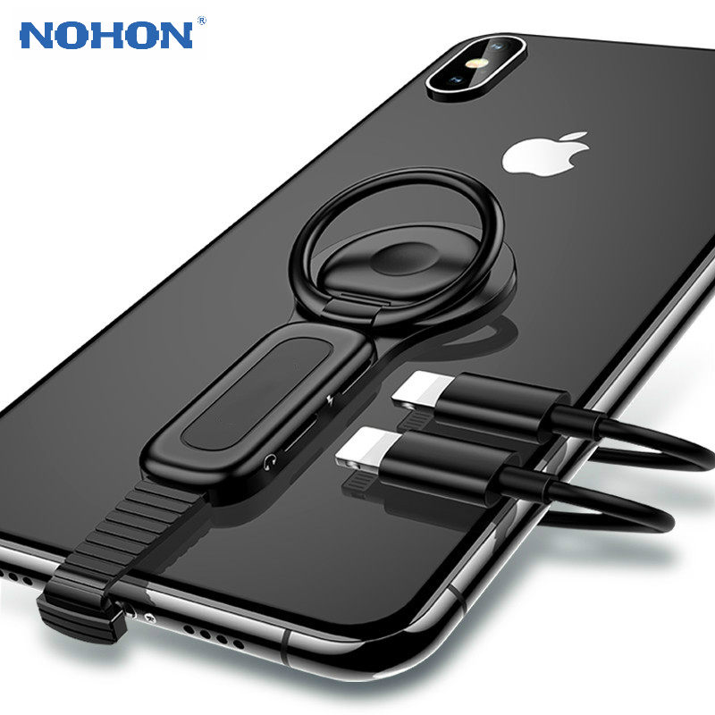 For Lightning To 3.5mm Audio Earphone Adapter Splitter Ring Holder For IPhone XS X XR 8 7 Plus Charging Adapter Converter OTG