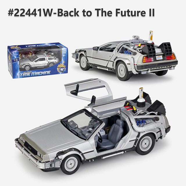 Welly 1:24 Diecast Alloy Model Car DMC-12 delorean back to the future Time Machine Metal Toy Car For Kid Toy Gift Collection 4