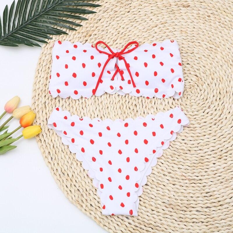 Sexy Polka Dot Bikini Women 2020 Two Piece Swimsuit Push Up Swimwear Floral Side Bathing Suit Brazilian Beach Wear Swimming Suit 3