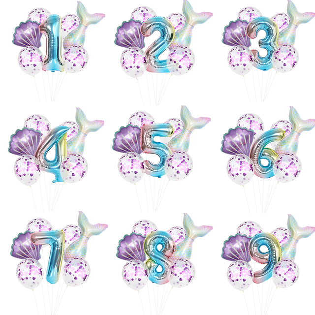 Balon na przyjęcie urodzinowe dekoracje syrenka dekoracje na przyjęcie urodzinowe balon w kształcie cyfry Decortion dla dzieci mała syrenka balon