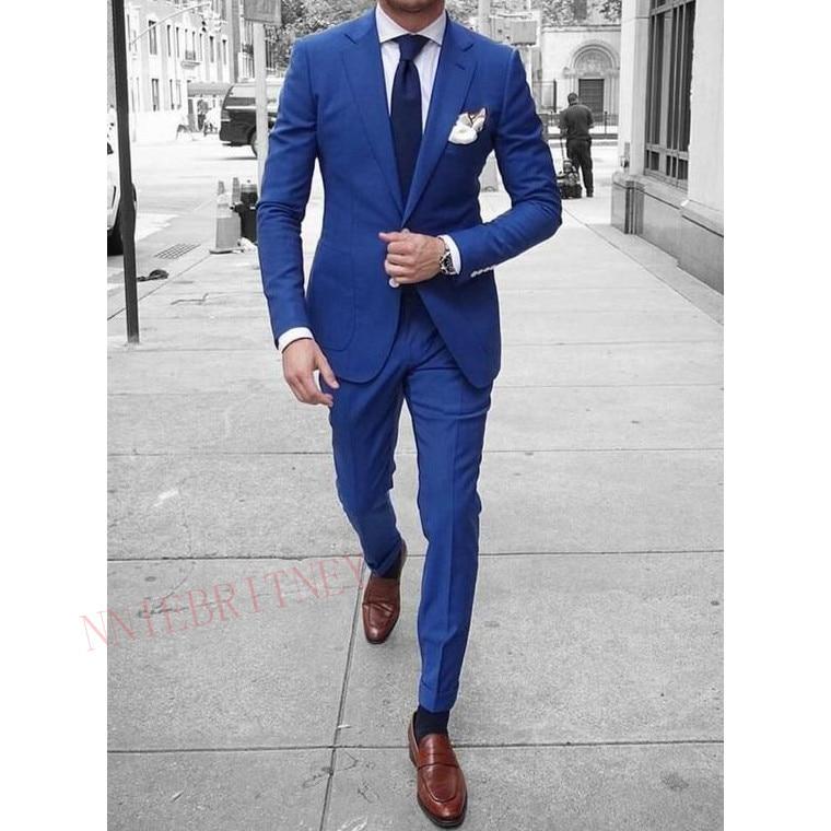 New Designs Royal Blue Suit Men 2 Piece Set Tailored Plus Size Groom Tuxedo Wedding Suits For Men Casual Men S Blazer With Pants Suits Aliexpress