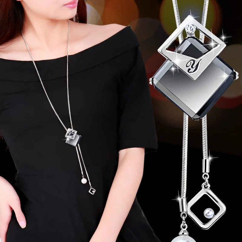 Statement Maxi Fashion Long Necklaces & Pendants for Women Fashion Geometric Necklace Jewelry Collier Femme Collar Accessories