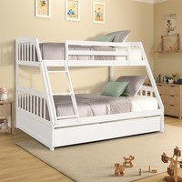 TOPMAX bunk bed all solid wood double bed, with two store content drawer, white