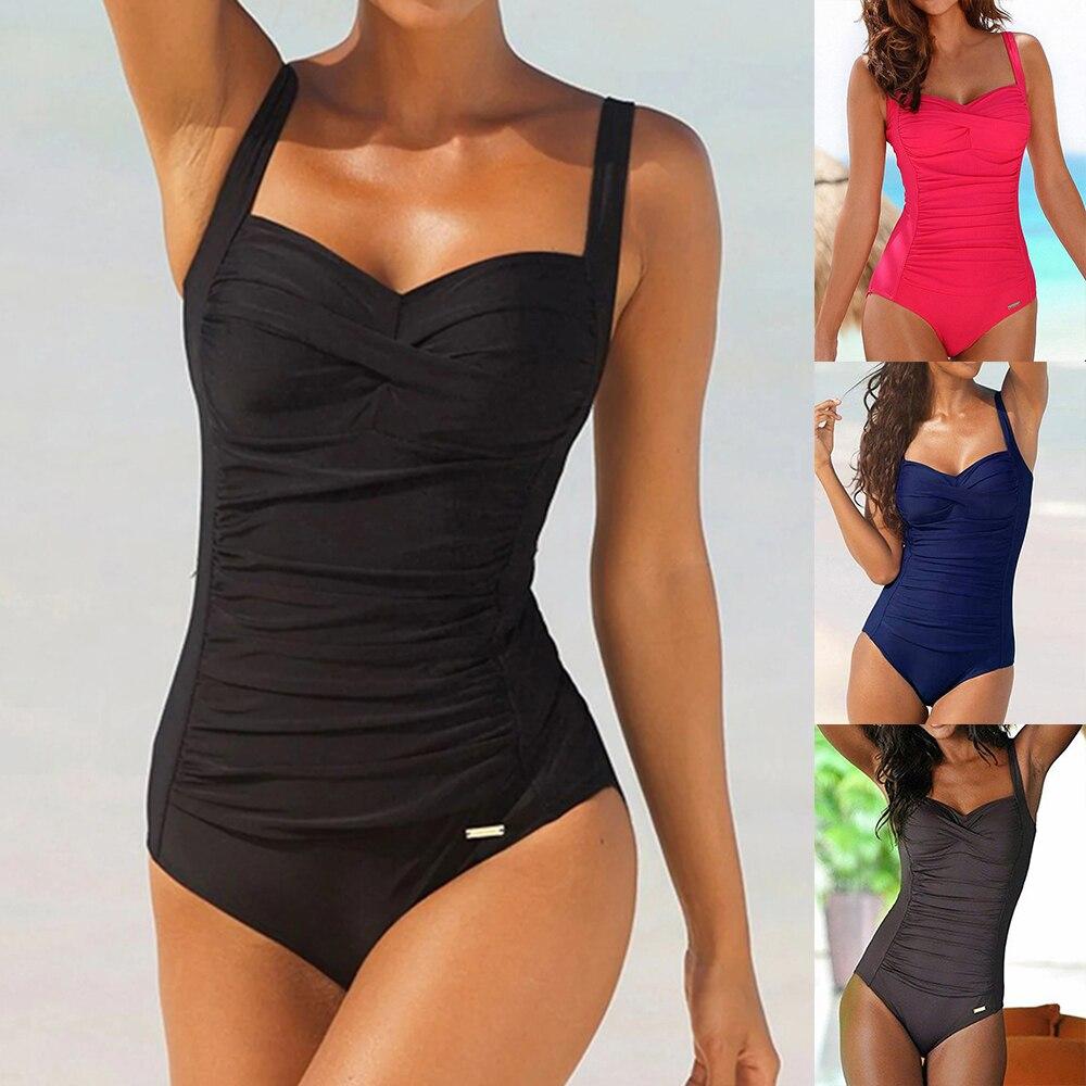 One Piece Plus Size Swimsuit Women Black Slimming Swimwear Sexy Classic Swimming Suit Momokini Summer Beach Bathing Suit 1