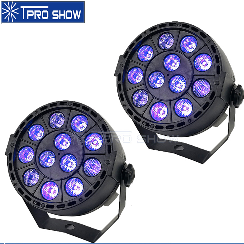 2pcs Home Party UV LED Par 12 Lamps Violet Lighting Strobe DMX Black Light Mini Stage Lighting Effect For Wedding Club Disco