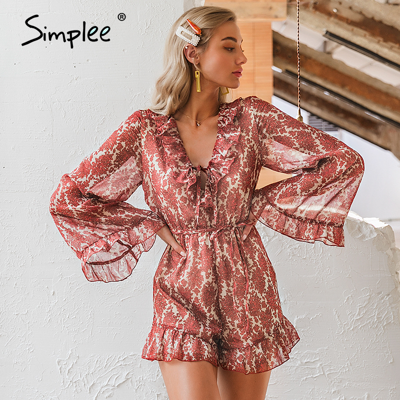 Simplee V Neck Lace Up Floral Print Women Playsuits Elegant Flare Sleeve Chiffon Jumpsuits Romper Holiday Beach Ladies Overalls