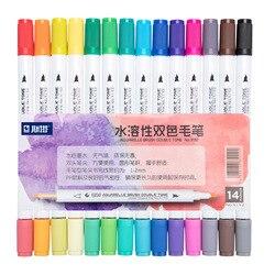 STA14Pcs różne końcówki z obu stron 28 kolorów pędzle do akwareli markery Double Tone szkic markery dla dorosłych dzieci projekt Bullet Journal