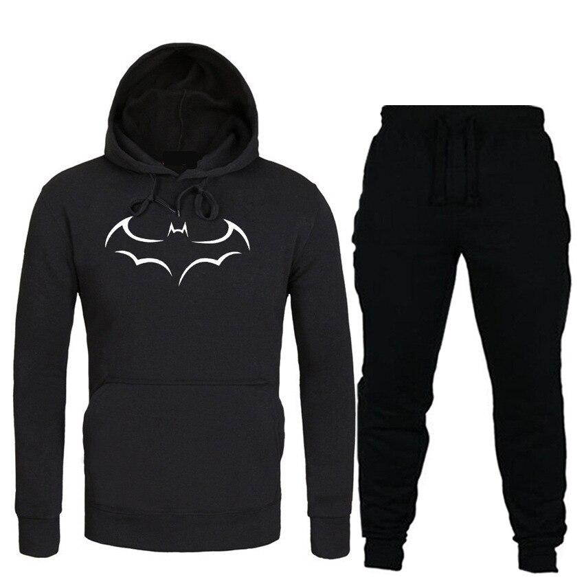 2019 New Style Men Leisure Set Batman Fashion Printed Hoodie Casual Gymnastic Pants Set