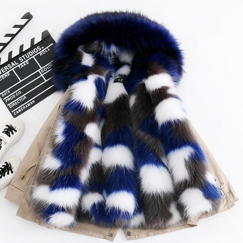 2019 mode hiver enfants Faux renard fourrure manteau enfant garçons filles vêtements à capuche épais chaud veste d'extérieur Parka snowsuit