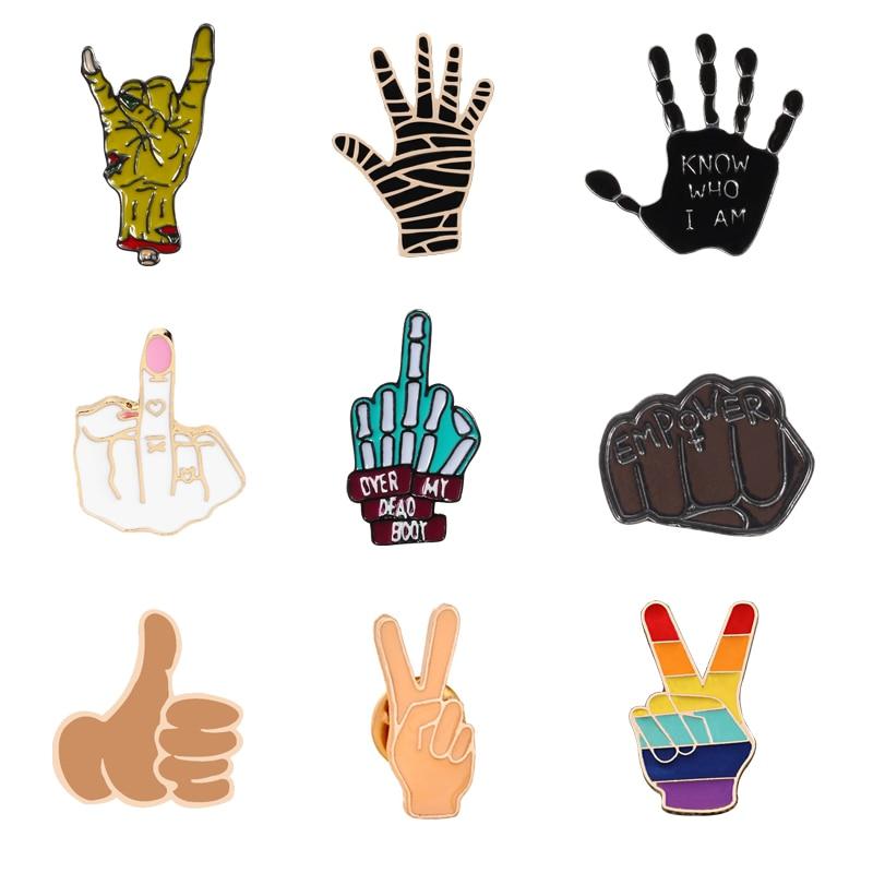 Punk el metal pimler broş OK evet iyi taş parmak sinyal emaye Pin rozetleri çeşitli hareketleri takı kadın erkek çocuklar için hediye