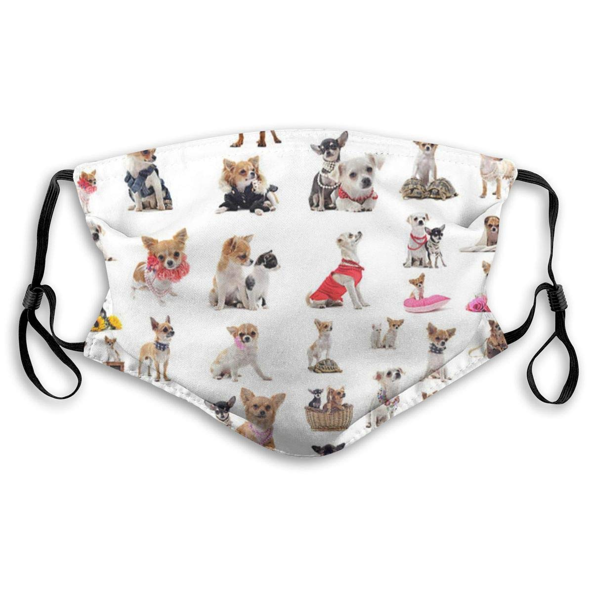 Cute Chihuahua Pug Pattern Print Mouth Masks With Filter Washable And Reusable Anti Dust Breathable Mask With Adjustable Ear
