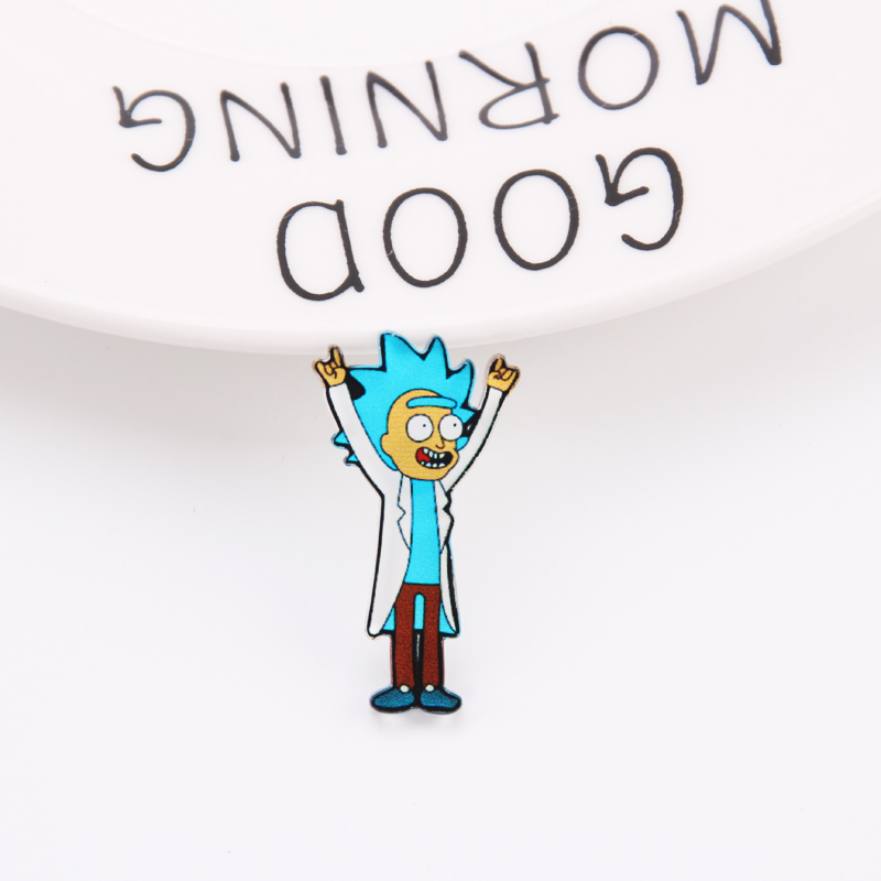 Мультфильм Рик и Морти булавка гений безумный учёный значок пуговицы брошь аниме любителей джинсовая рубашка нагрудные булавки - Окраска металла: 02