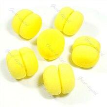 DIY 6X Soft Sponge Hair Care Curler Rollers Balls Yellow Portable design foam hair rollers BSN