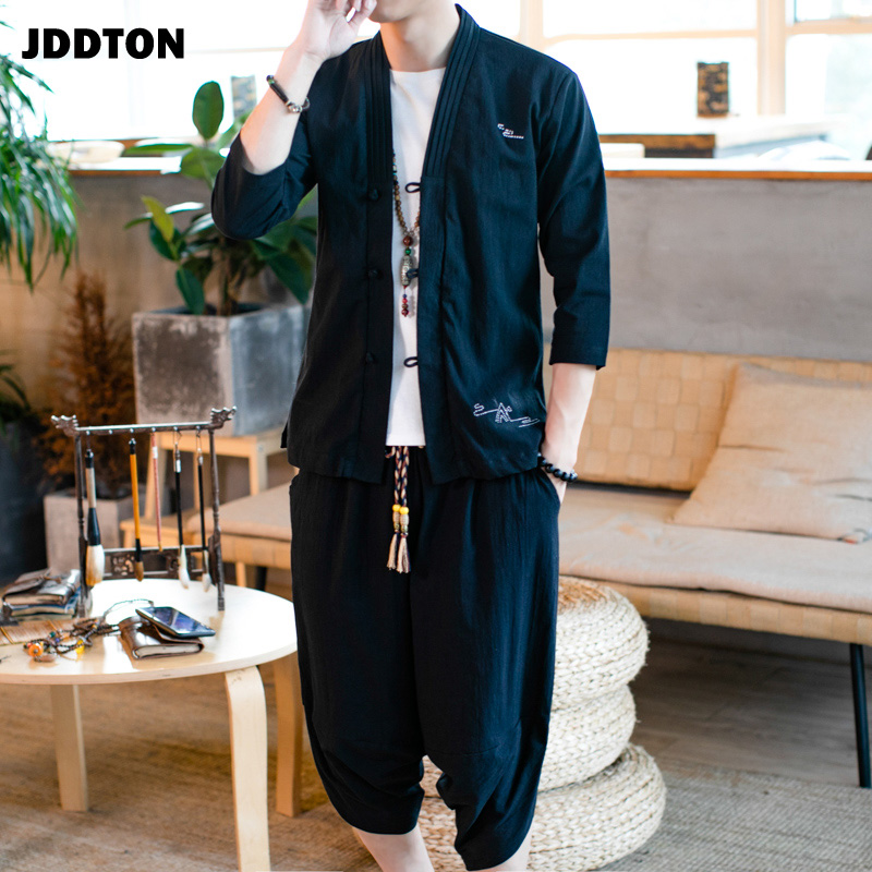 JDDTON New Men's Traditional Japanese Clothing Style Suits Cotton Linen Outerwear Fashion Casual Loose Male Two-Piece Set JE069