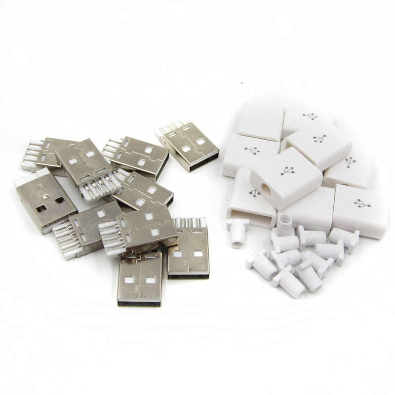 10 stücke Weiß DIY USB 2.0 EINE Männlichen 5 p Stecker Montage Adapter Stecker Steckdose