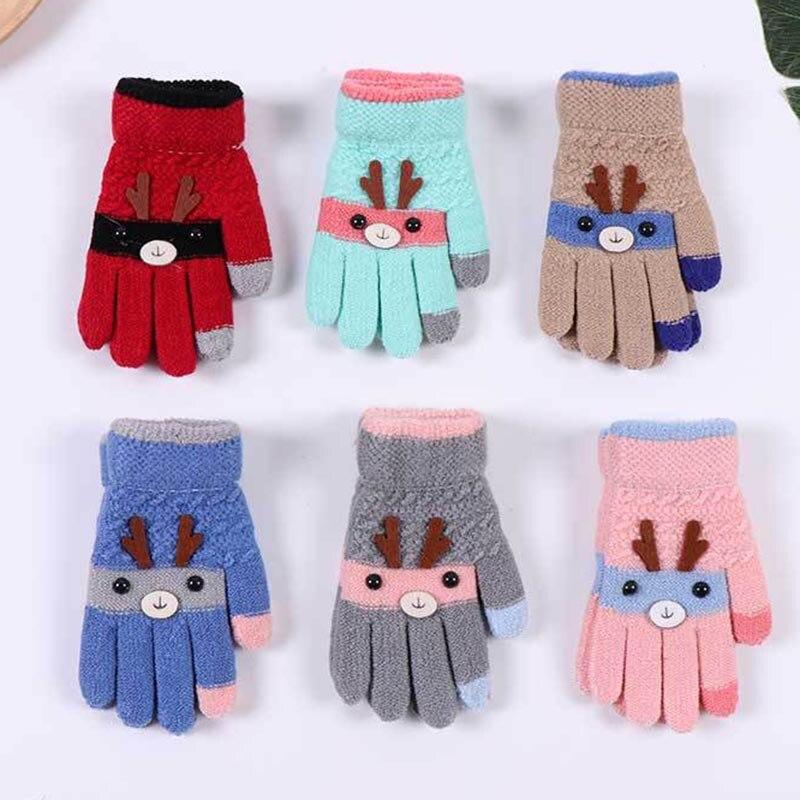 AHB 5-9Y Winter Kids Gloves Thicken Warm Knitted Gloves Full Finger Wrist Mitten Cute Cartoon Deer Christmas Children Gloves