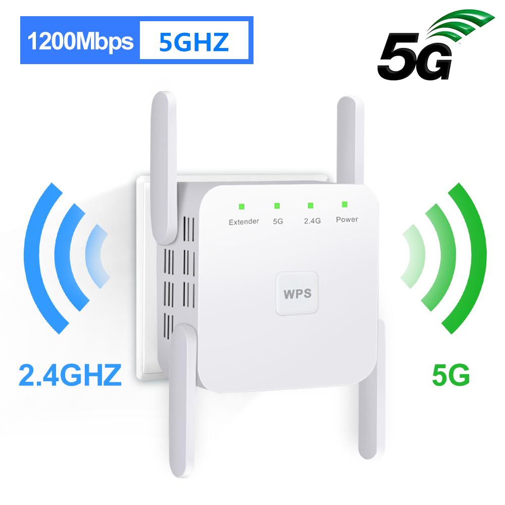 5Ghz WiFi Amplifier WiFi Repeater 1200Mbps Wifi Extender Long Range Wi fi Repeater Signal Wi Fi Booster 5G 2 4G