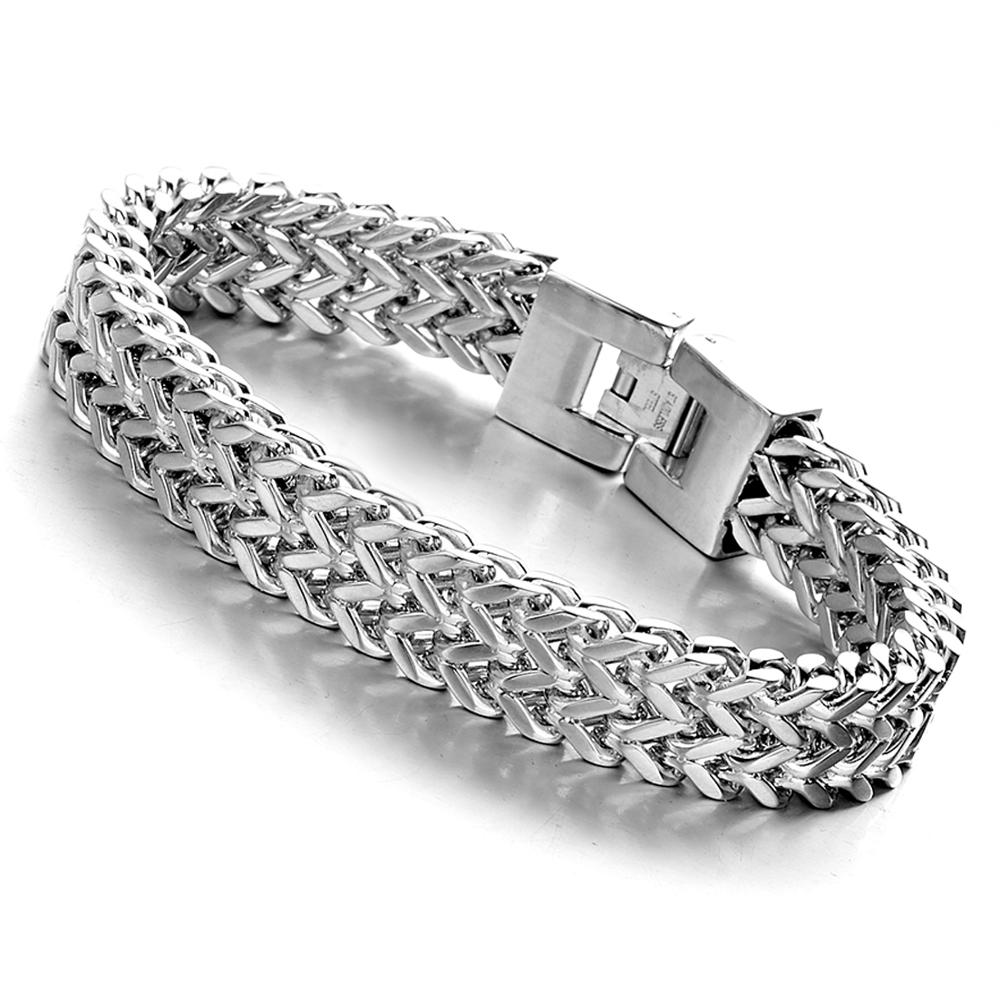 Fashion Jewelry Titanium Stainless steel Classic Biker Black Silver Gold Men 39 s Women 39 s 8 66 quot 12mm Wide Curb Chain Bracelet Bang in Chain amp Link Bracelets from Jewelry amp Accessories
