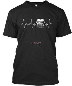 Мужская футболка с круглым вырезом, крутая хипстерская футболка с круглым вырезом и принтом «Heartbeat Bus Driver», 500 проданных моделей, 2019