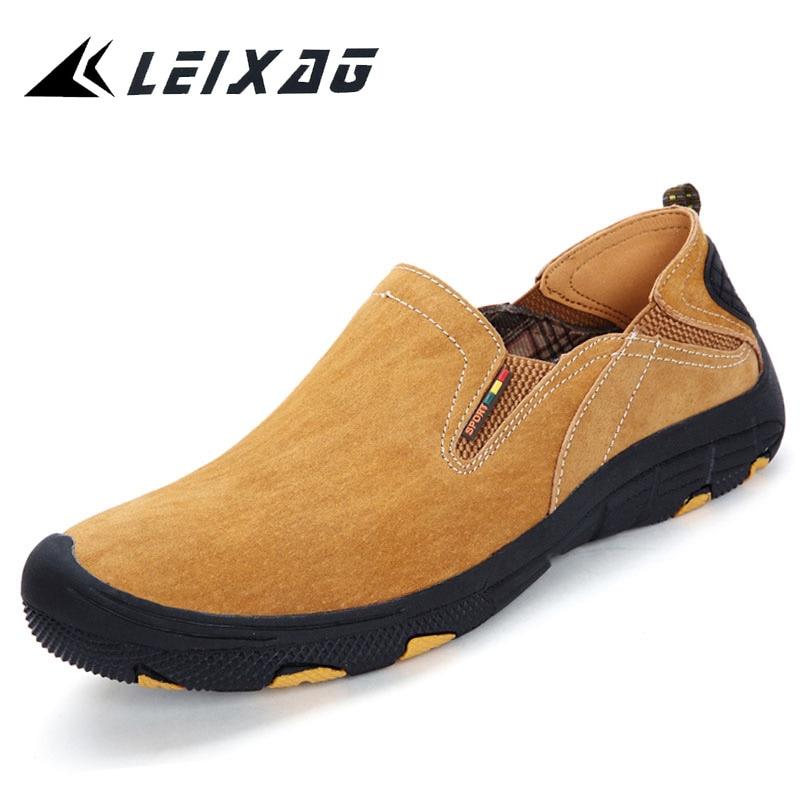 LEIXAG Hiking Shoes Men Genuine Leather Outdoor Trekking Sneakers Men Slip On Walking Shoes Anti skid