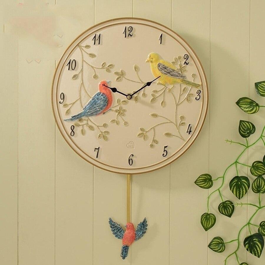 Безопасная Смола бесшумные птицы художественные настенные часы креативные простые настенные часы живопись Декор Resina классические часы де... - 2