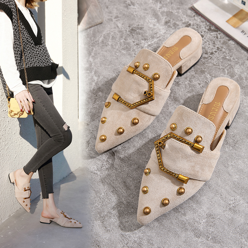 Wellwalk Brand Shoes Women Slippers 2020 Pointed Toe  Mules Buckle House Slippers Block Heel Slides High Quality Plus Size 35-41