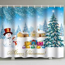 цена на Christmas shower curtain, Christmas holiday background, floral print, perforation-free waterproof belt, 12 hook shower curtain