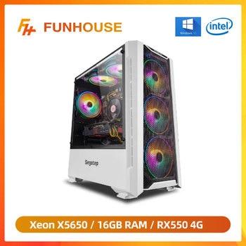 Funhouse Assembled Desktop Computer Intel Xeon X5650 6-Cores 12Threads LGA 1366/RX550/RX560 4G/8G/16G RAM 240G SSD For LOL