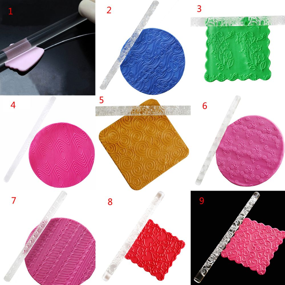 1PC Food-grade Acrylic Carved Embossing Rolling Pin for Decorating Fondant Cake/Cookies 1