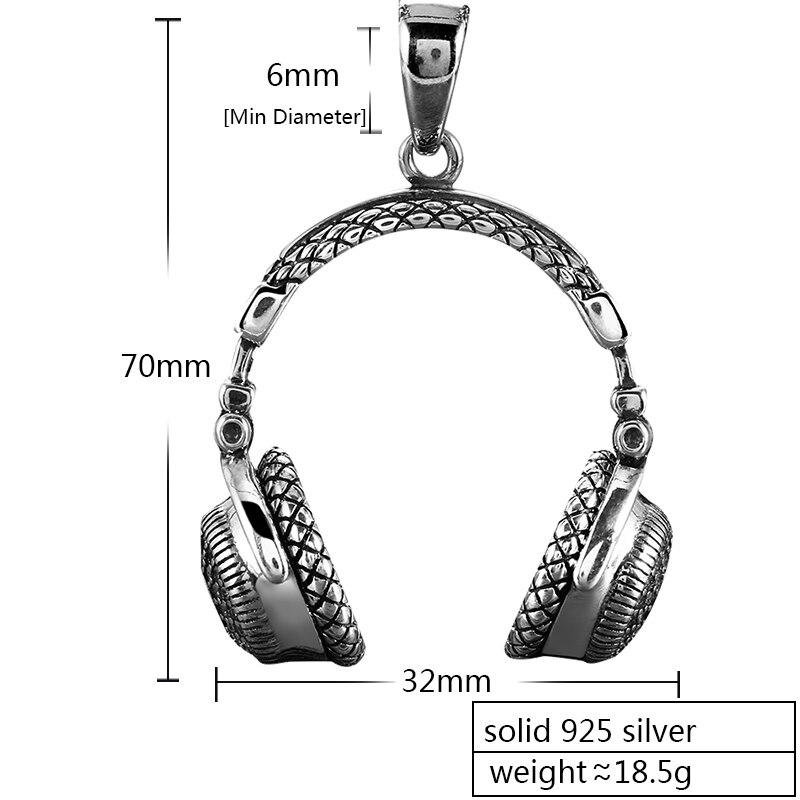 ZABRA Gothic Solid 925 Sterling Zilver Muziek Headset Hanger Ketting Voor Mannen 70*32mm Vintage Fashion Biker Mannelijke sieraden-in Hangers van Sieraden & accessoires op  Groep 2