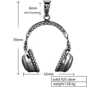 Image 2 - Zabra Gothic Solid 925 Sterling Zilver Muziek Headset Hanger Ketting Voor Mannen 70*32 Mm Vintage Fashion Biker Mannelijke sieraden