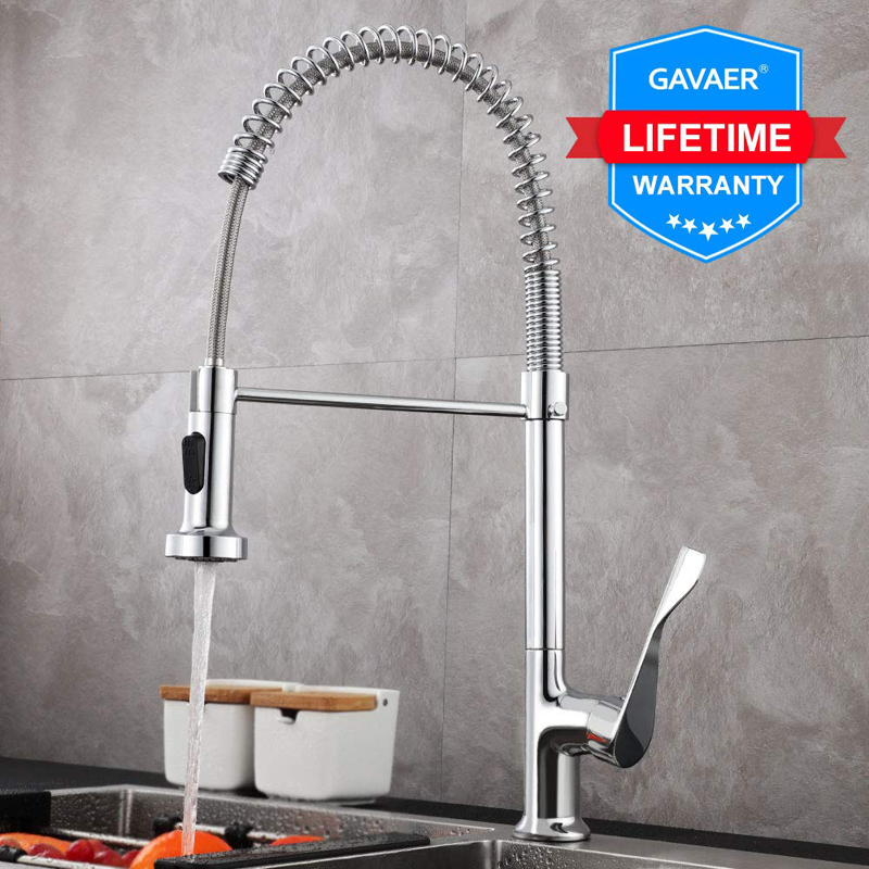 Gavaer Spring Pull Down Kitchen Faucets Dual Mode Effluent Water Taps Handheld Kitchen Mixer Tap Hot Cold 2 Outlet Spring Taps