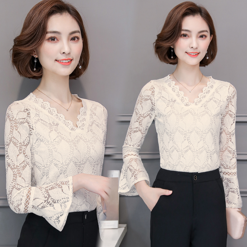 Women clothing Autumn Sexy V neck Lace Shirts Tops Hollow Out Female Elegant Long Sleeve Plus size 3XL Lace Blouse shirts 562G7 in Blouses amp Shirts from Women 39 s Clothing