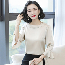 Korean Silk Women Blouses Shirt Women Satin Silk Sh